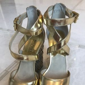 Michael Kors Gold Leather Wedge in Size 6